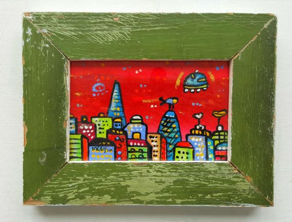 Red Green London 21x16 cm, original painting